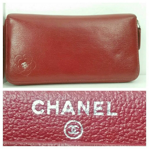 db32dd81 Auth CHANEL Camellia Zip-Around Lambskin Wallet